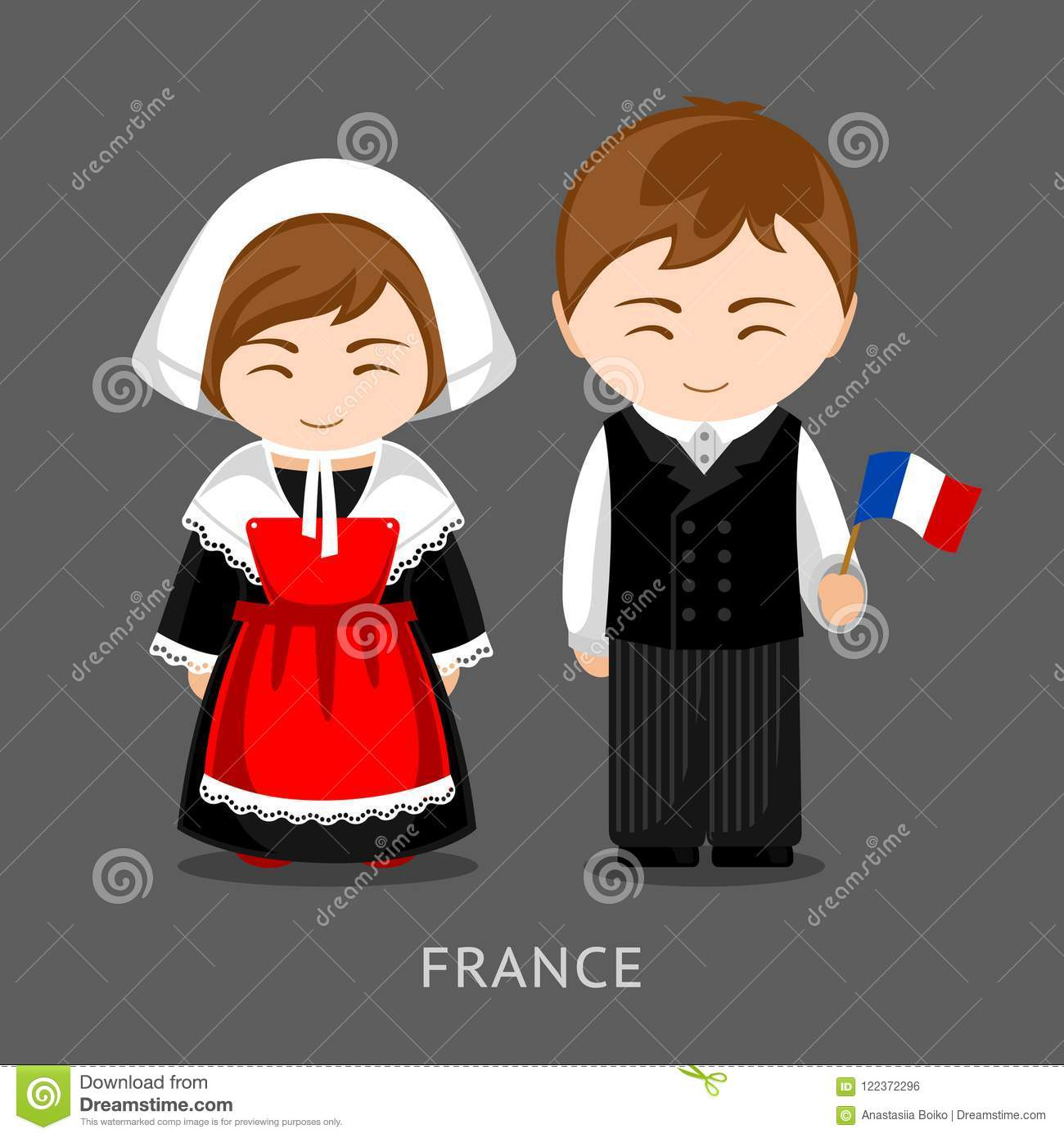 French In National Dress With A Flag Stock Vector
