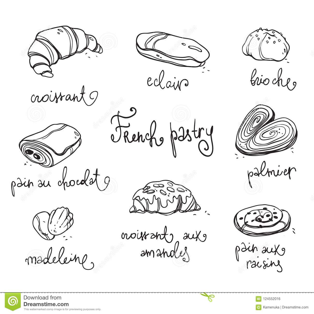 French Pastry Traditional Baked Desserts Black And White