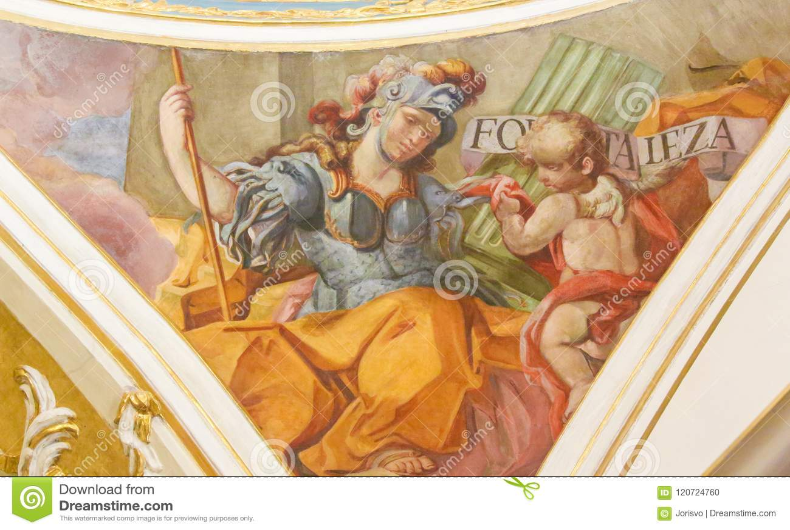 Fresco Of The Cardinal Virtue Courage Stock Photo