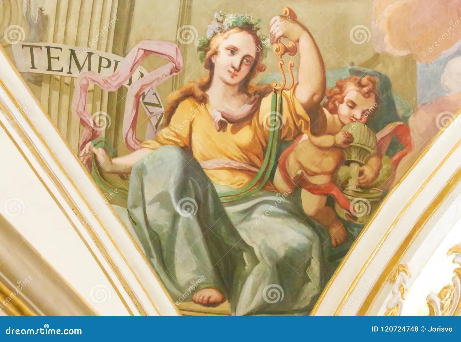 Fresco Depicting The Cardinal Virtue Temperance Stock