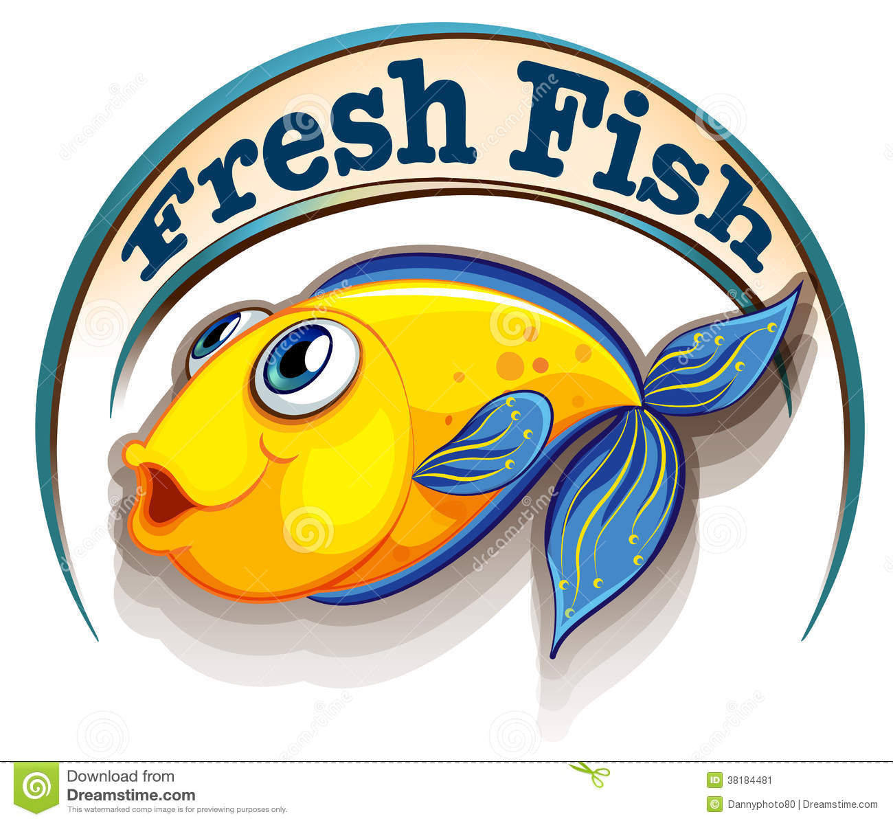 A Fresh Fish Label With A Fish Stock Vector