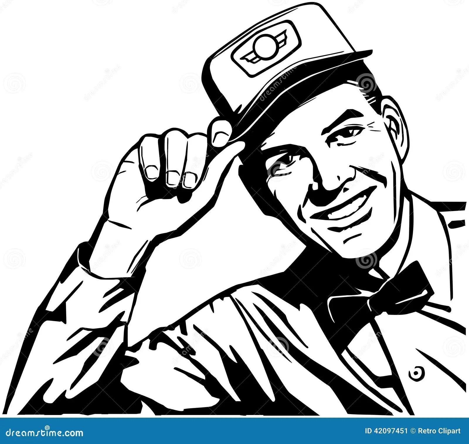 Friendly Service Man Stock Vector Illustration Of Fifties