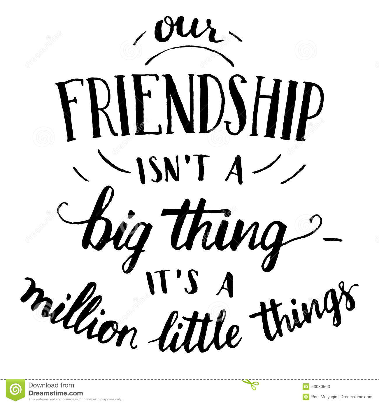 Friendship Hand Lettering And Calligraphy Quote Stock