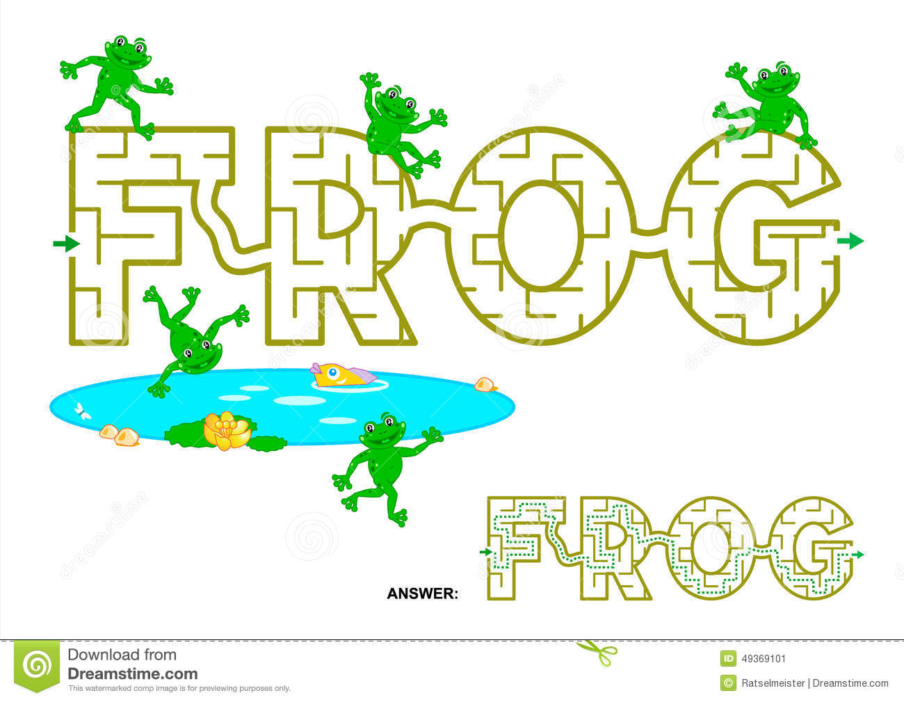 Frog Word Maze For Kids Stock Vector