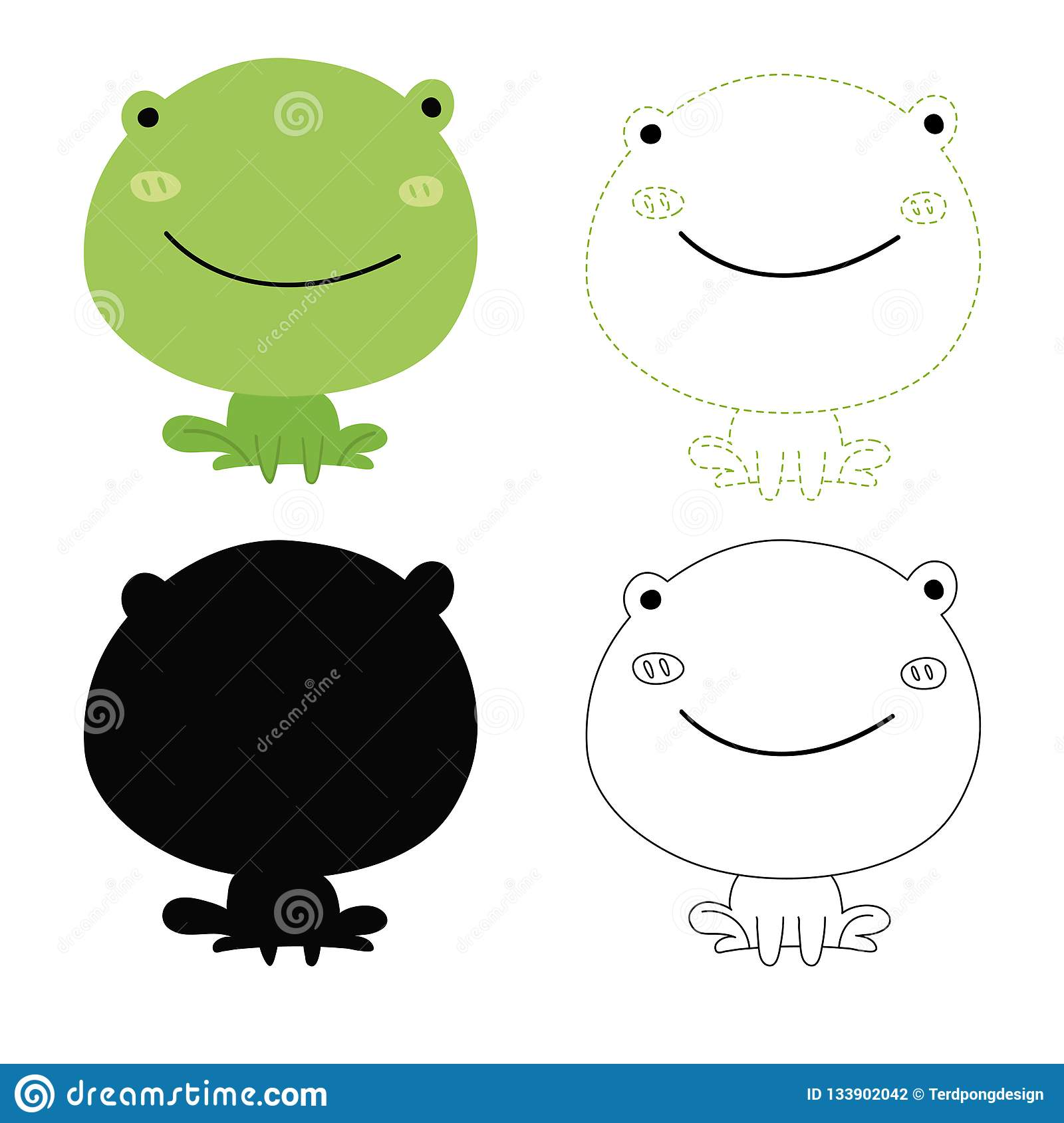Frog Worksheet Vector Design Stock Vector