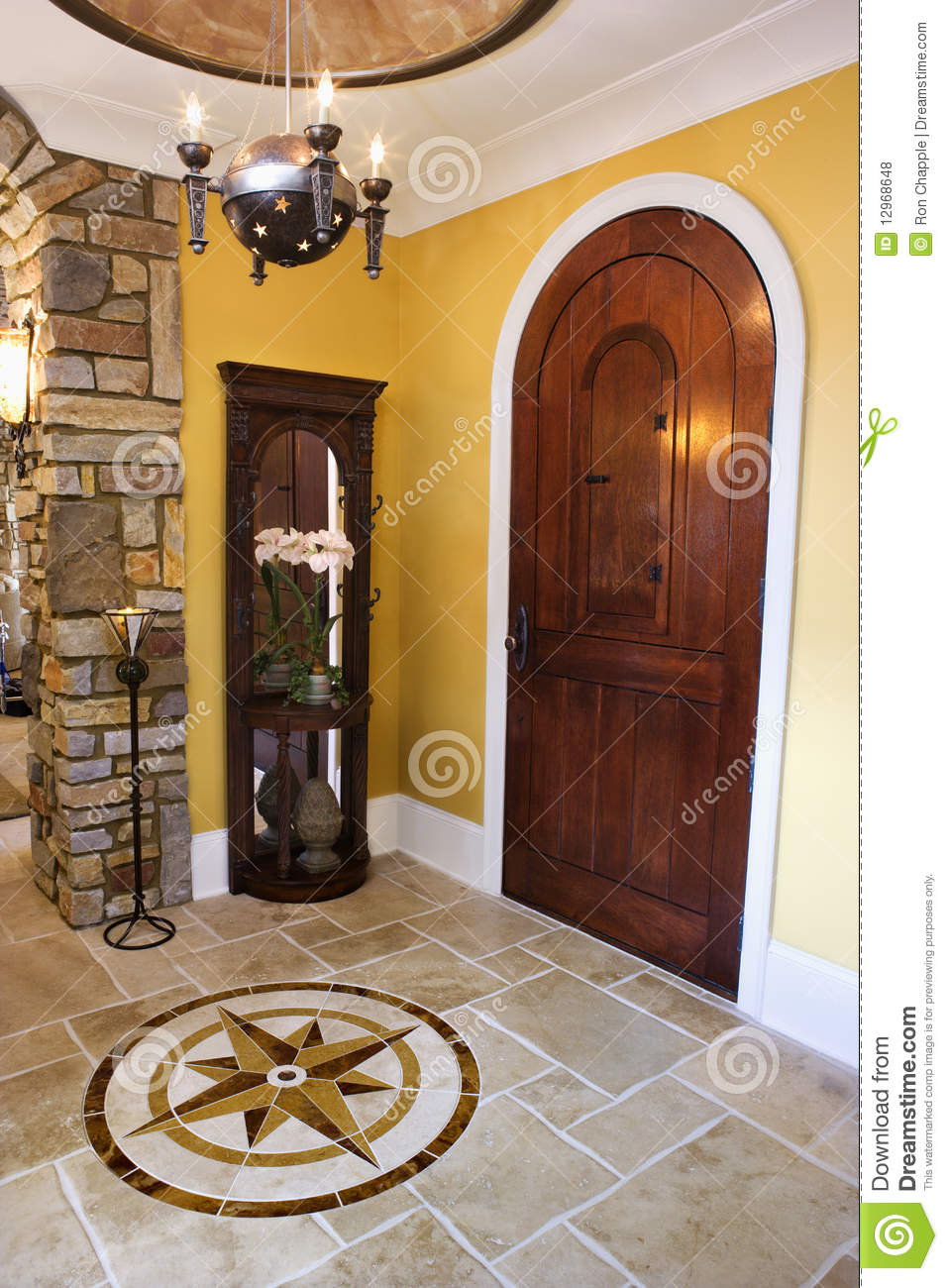 Front Door And Foyer Of Luxury Home Stock Photo Image Of