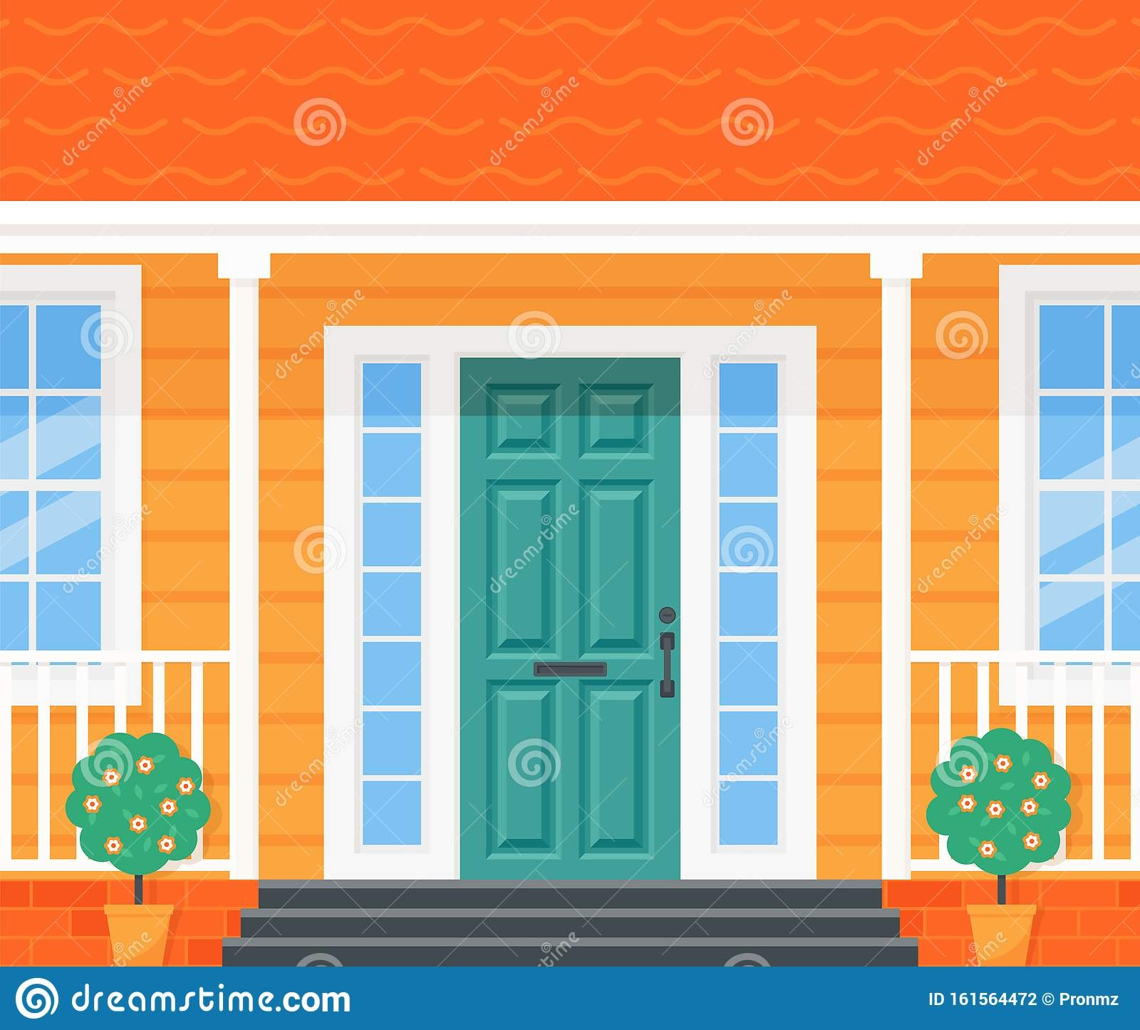 Front Door Porch House Vector Illustration In Flat Design Stock | Front Staircase Design Home | House Plan | Porch Gallery | House Kerala | Outdoor | Ghar