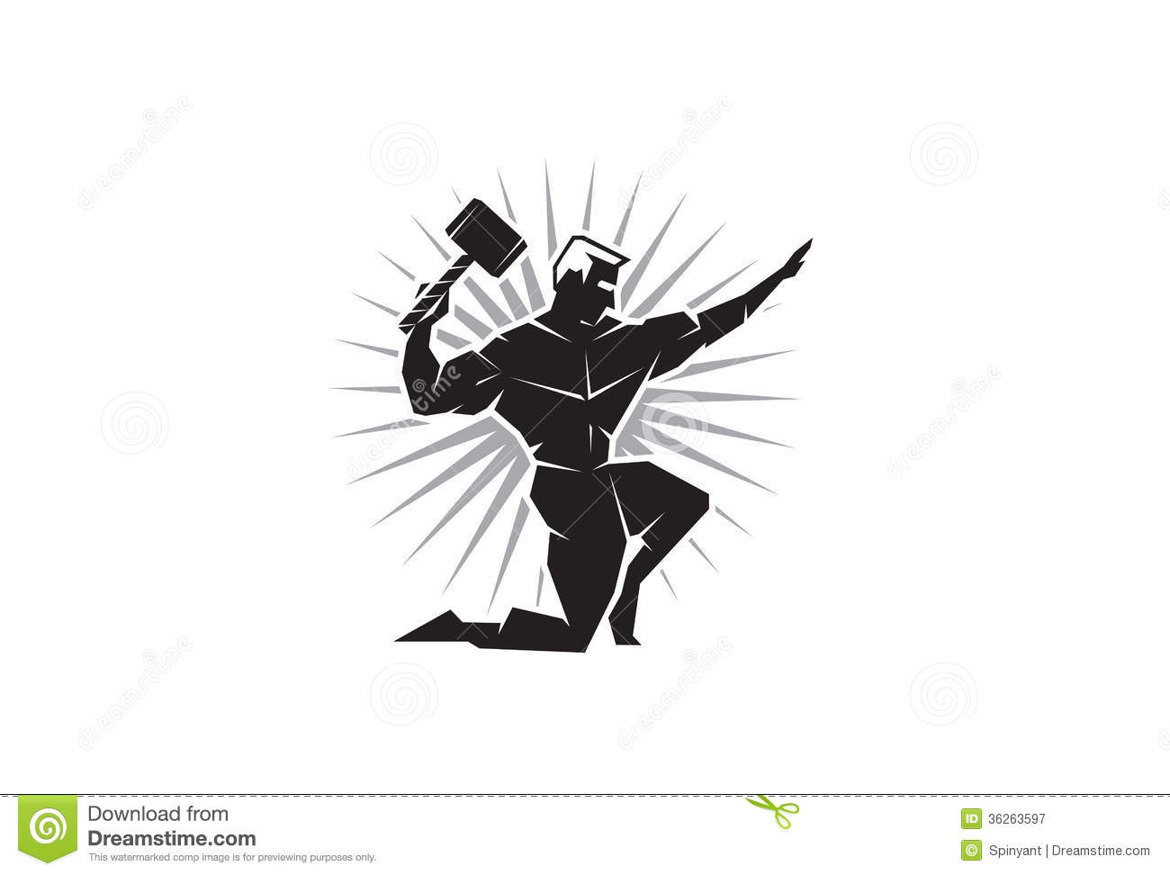 Front View Of Greek God Thor Royalty Free Stock