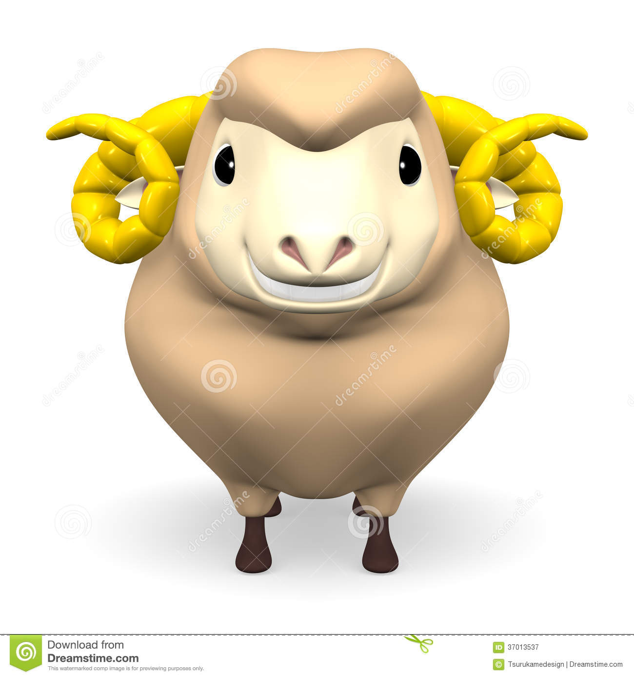 Front View Of Smile Brown Sheep Stock Illustration