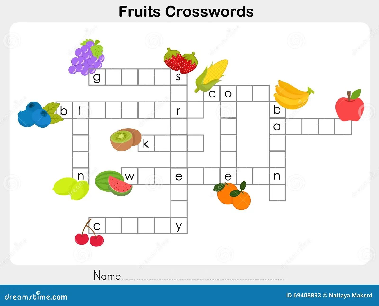 Frucht Kreuzwortratsel Arbeitsblatt Vektor Abbildung