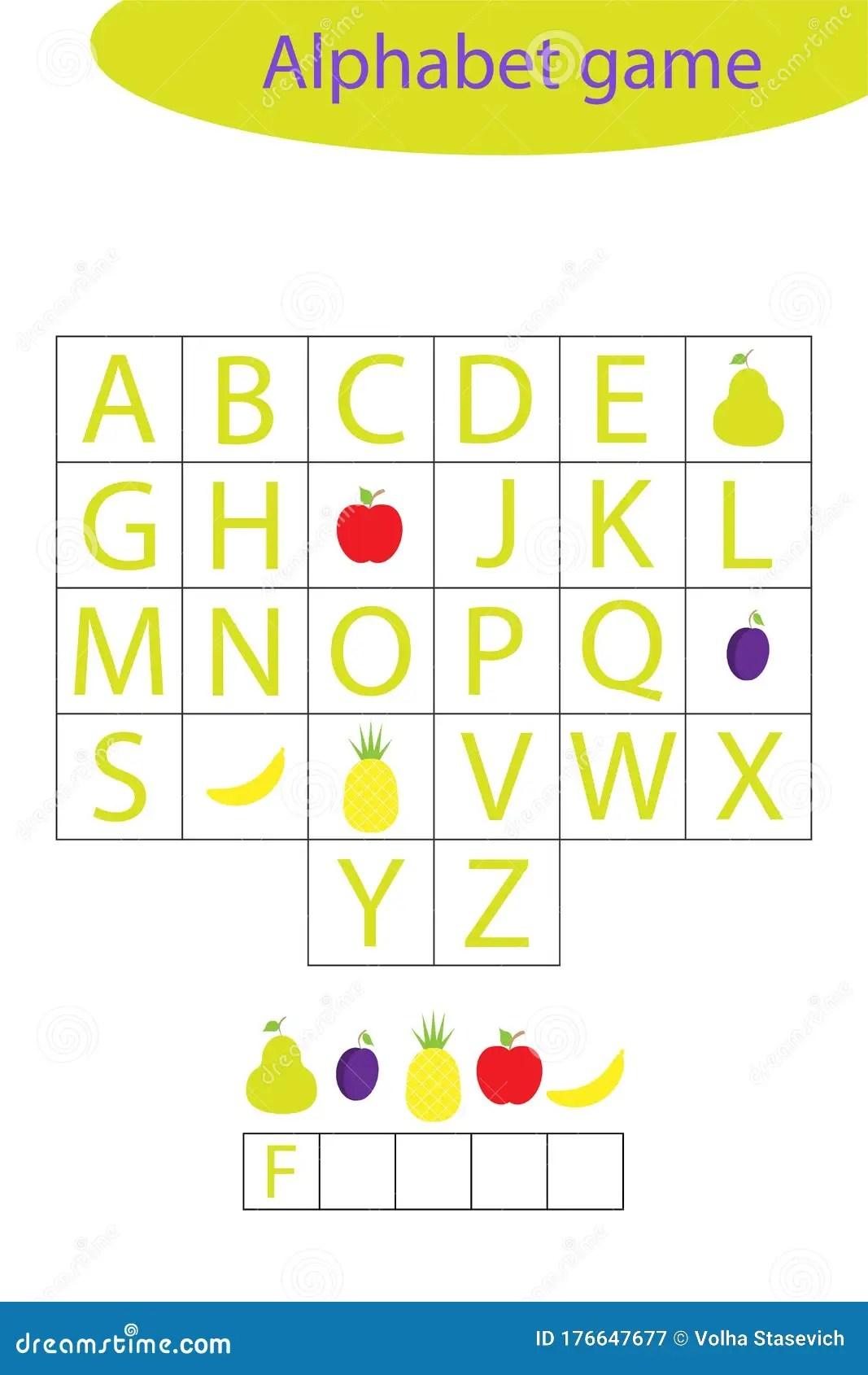 Fruit Alphabet Game For Children Make A Word Preschool