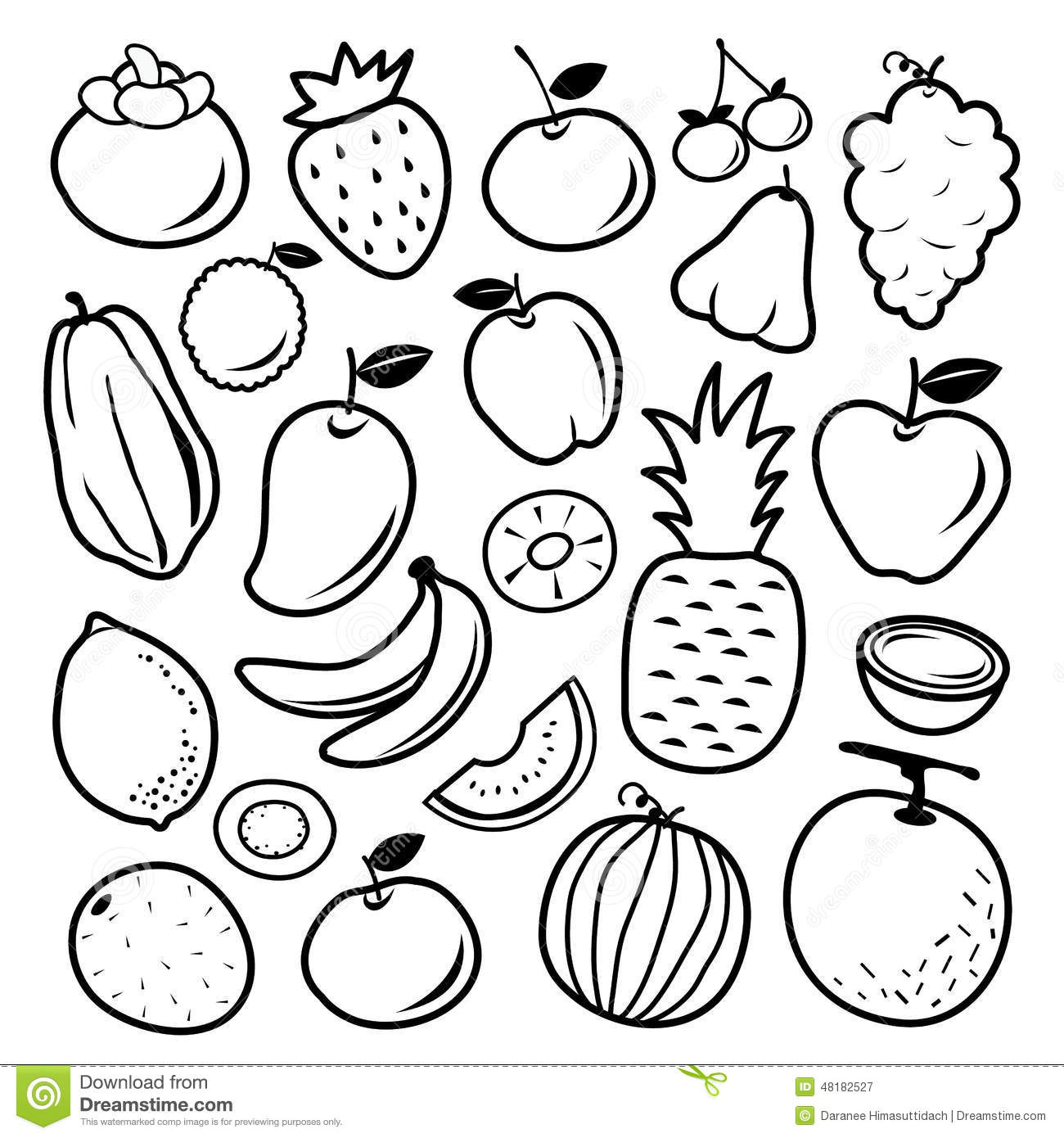 Fruit Cartoon Black Icon Design Vector Stock Vector