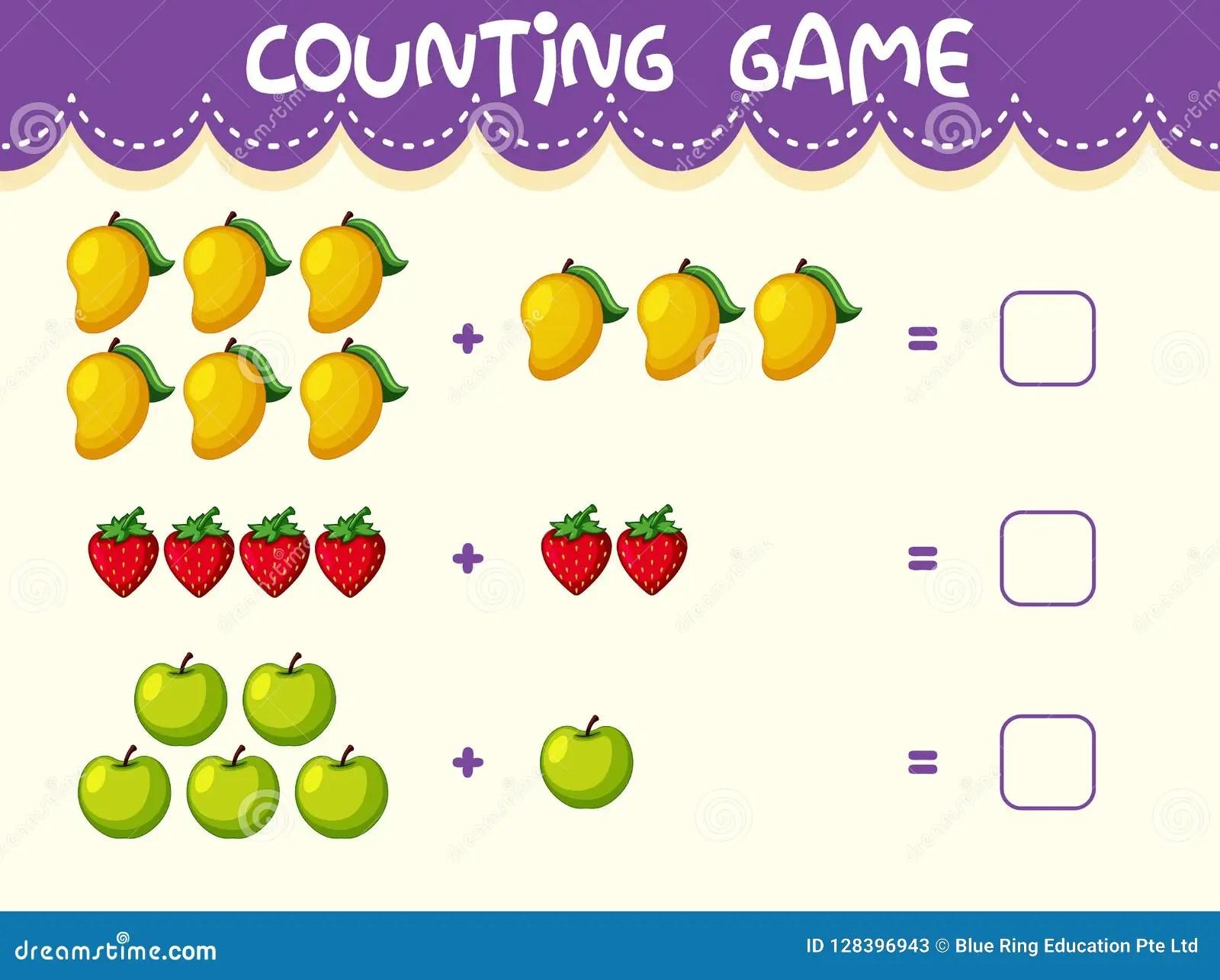 Fruit Math Number Worksheet Stock Vector