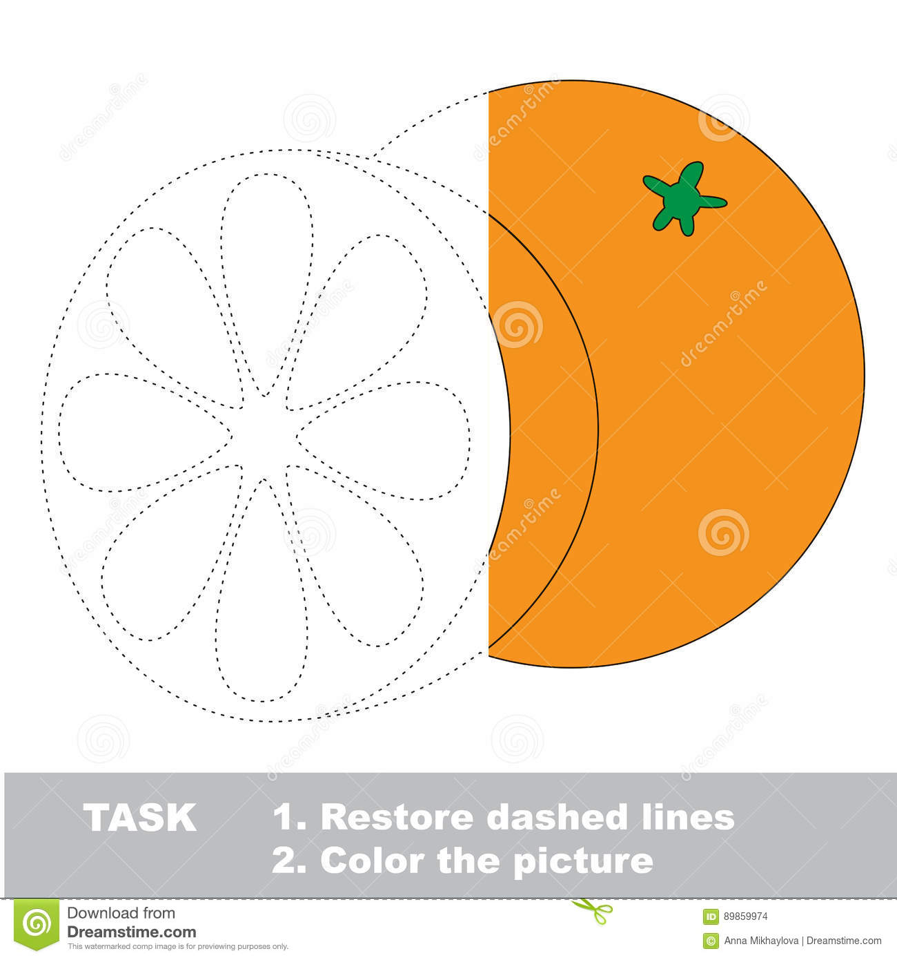 Fruit To Be Colored Vector Trace Game Stock Vector