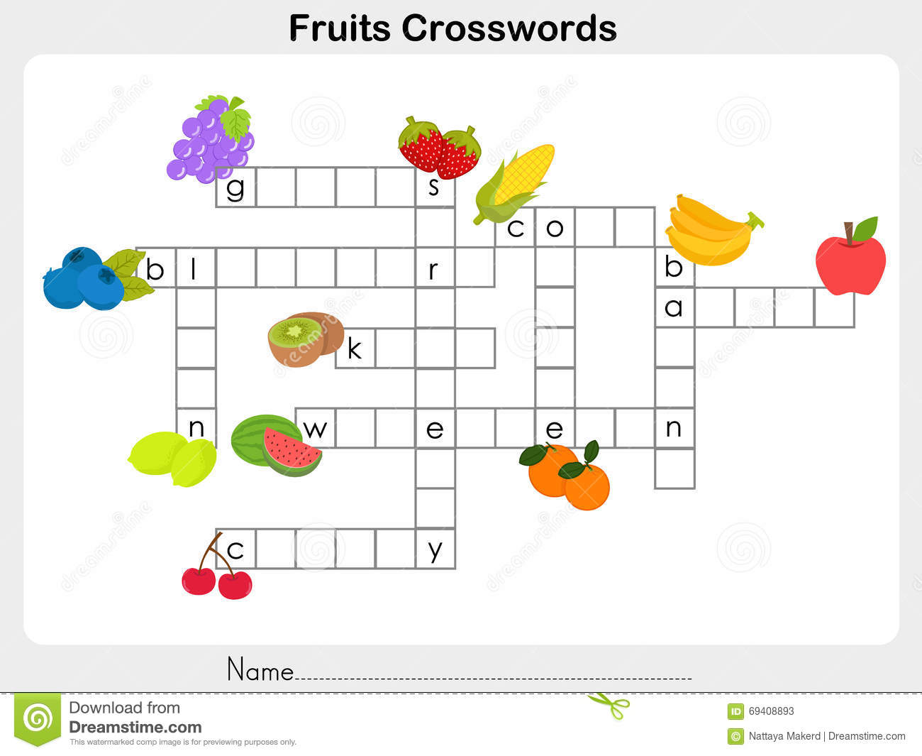 Fruits Crosswords Worksheet Stock Vector