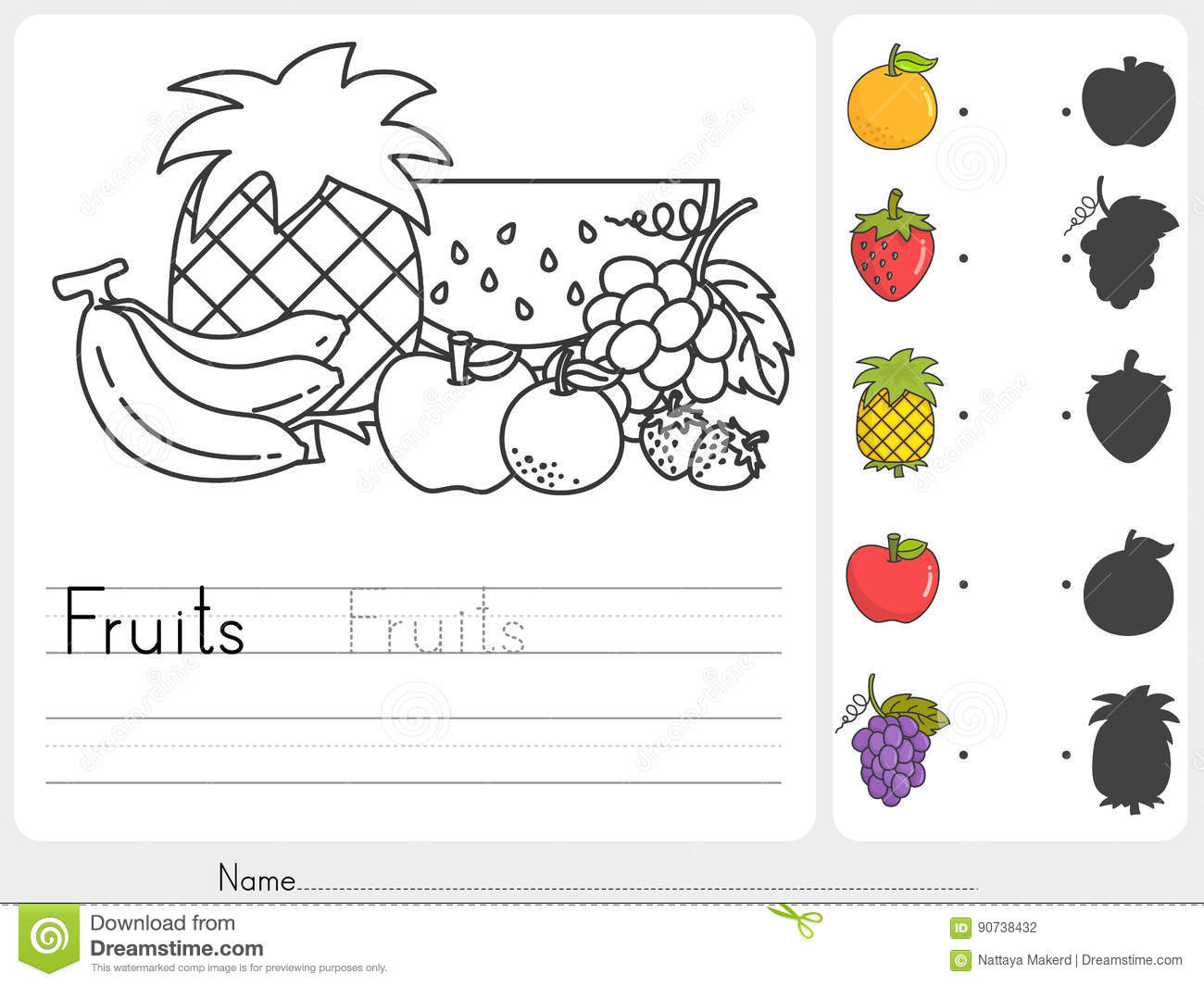 Fruits Painting And Match With Shadows Stock Vector