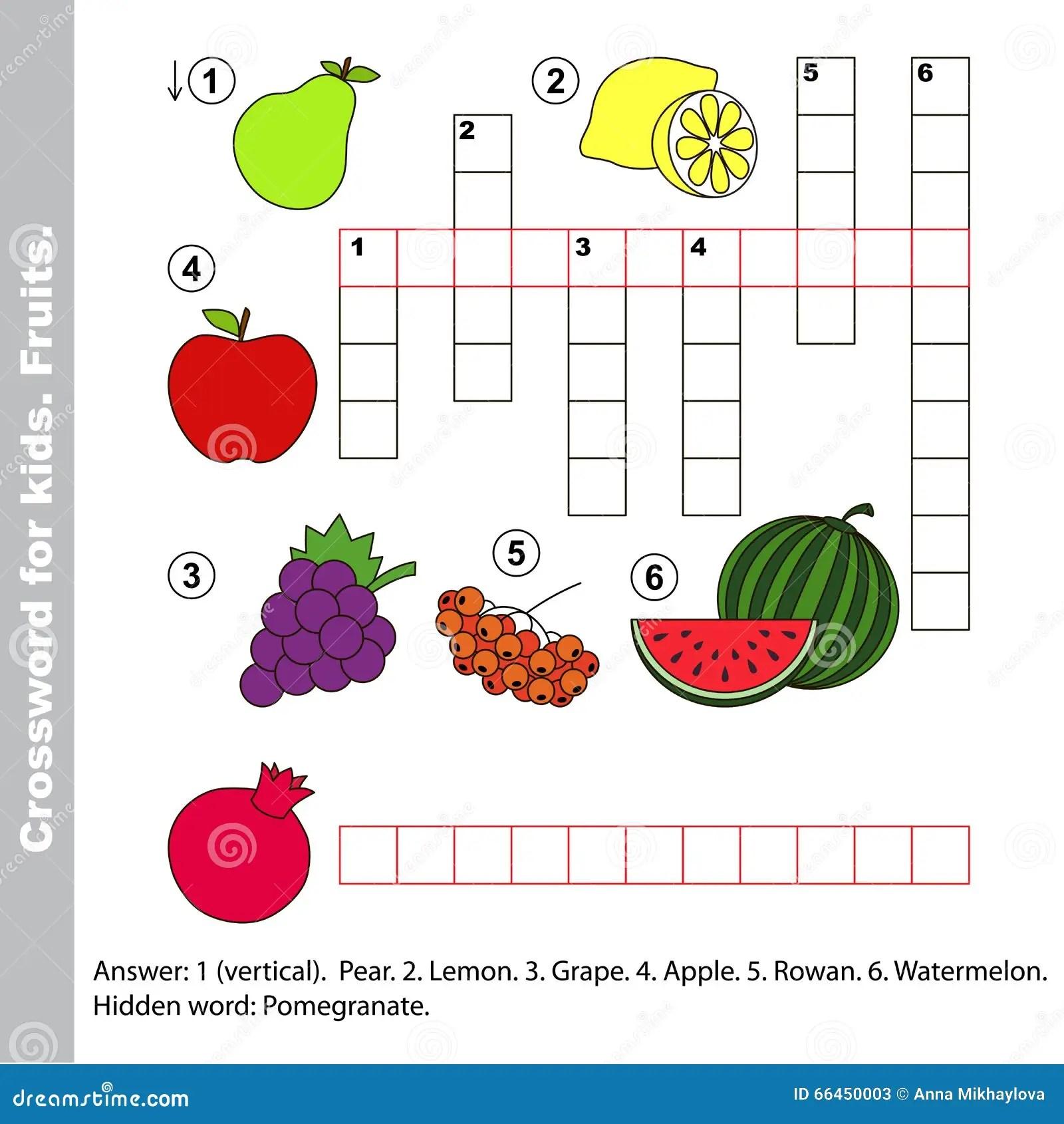 Fruktkorsord For Ungar Vektor Illustrationer Illustration