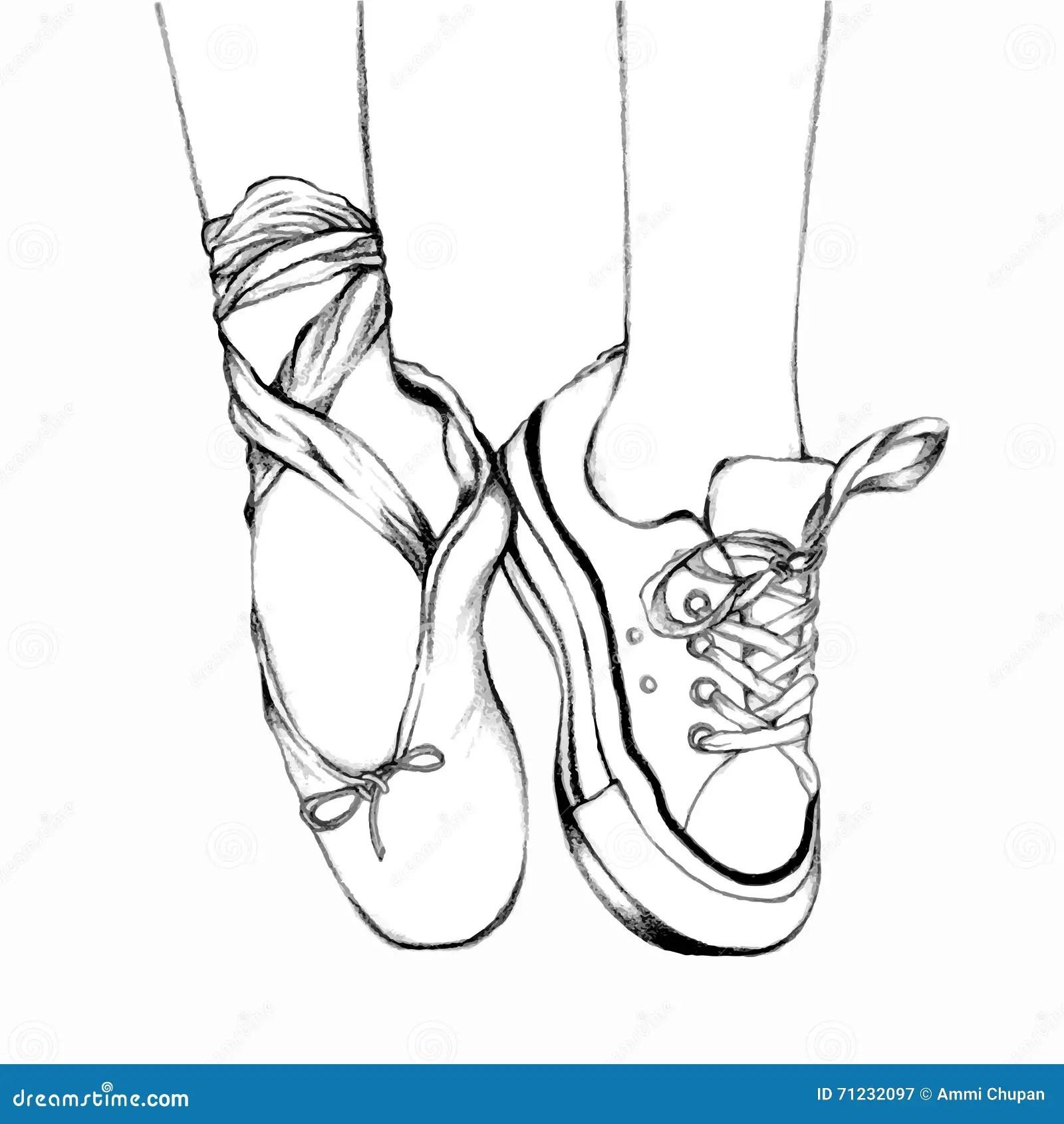 Fu Abnutzungs Ballettschuhe Und Turnschuhe Schwarzweiss