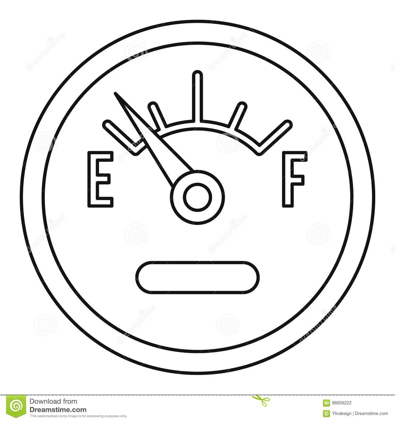 Fuel Gauge Showing Empty Icon Outline Style Stock Vector