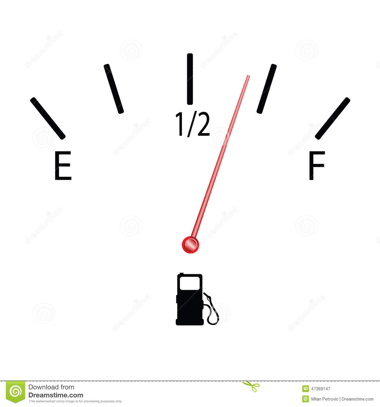 Fuel Gauge With Symbol Vector Illustration Stock Vector