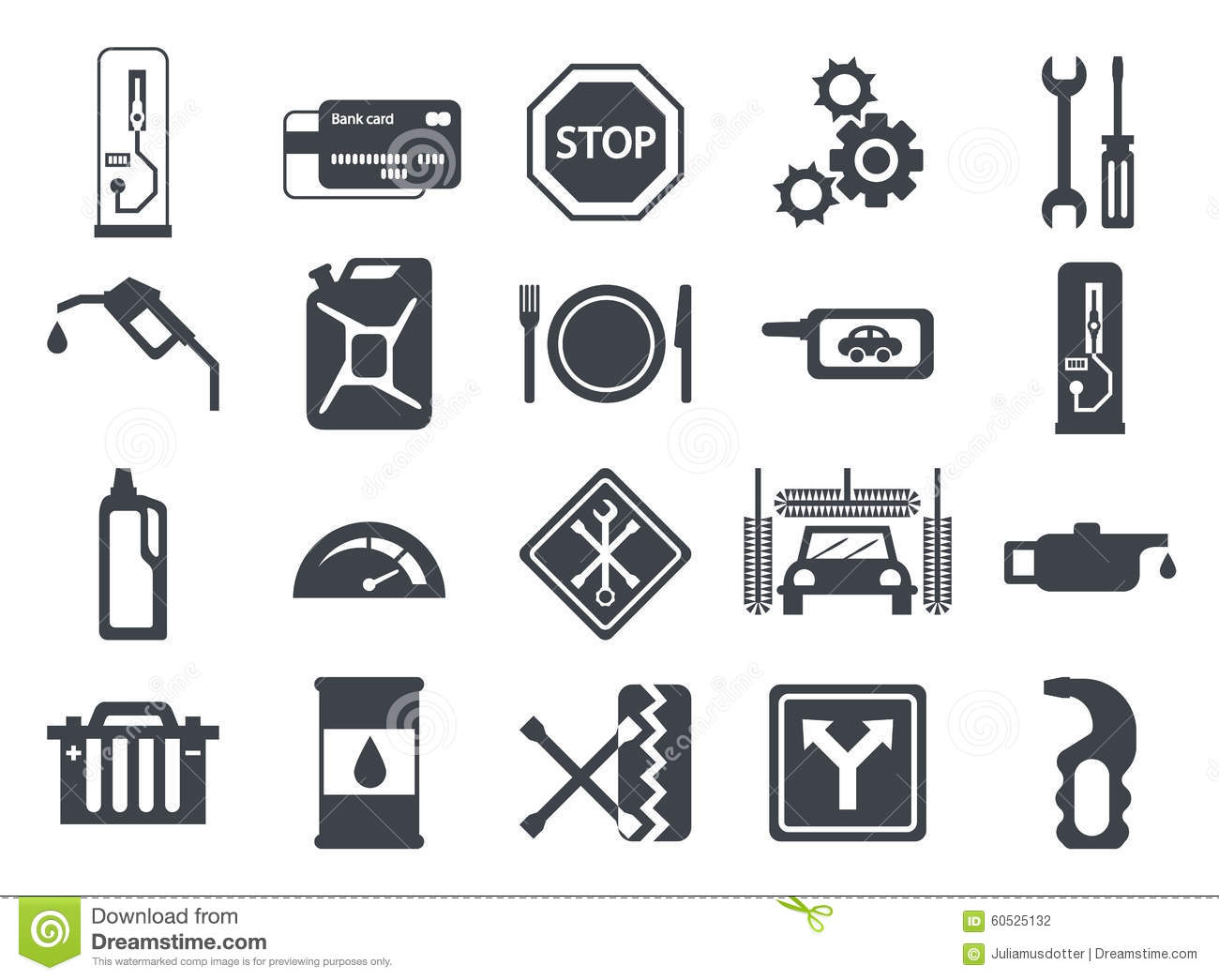 Fuel Pump Gas Station Icons Stock Vector