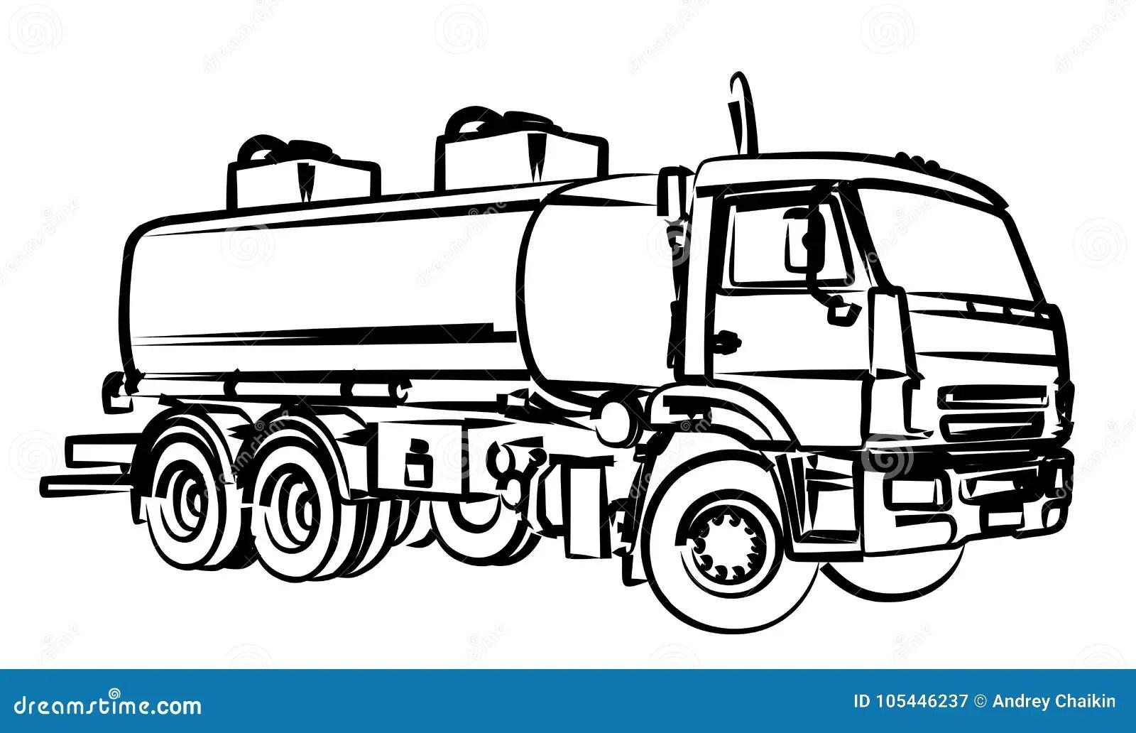 Fuel Truck Sketch Stock Vector Illustration Of Industry