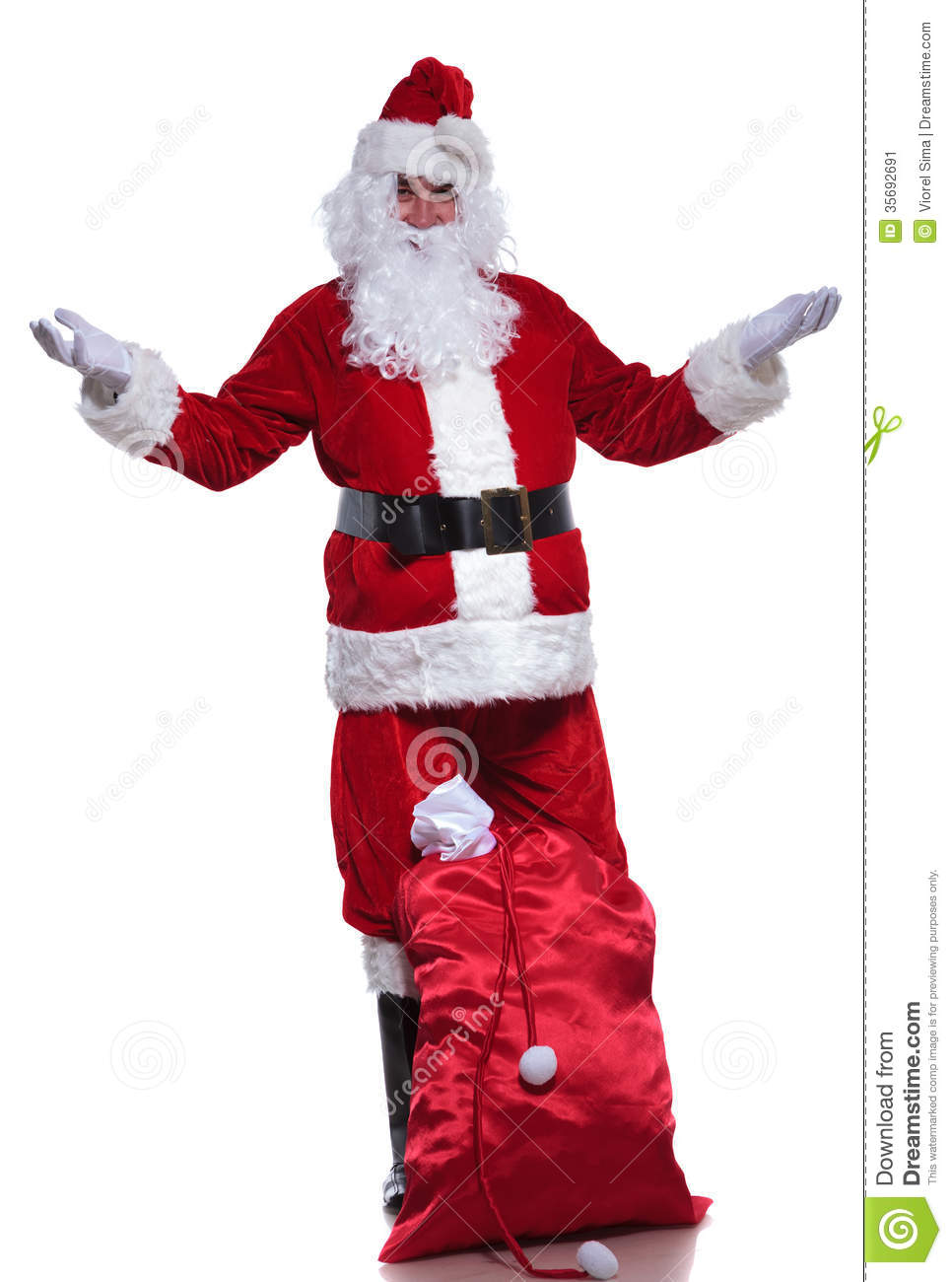 Full Body Picture Of Santa Claus Welcoming Stock Image