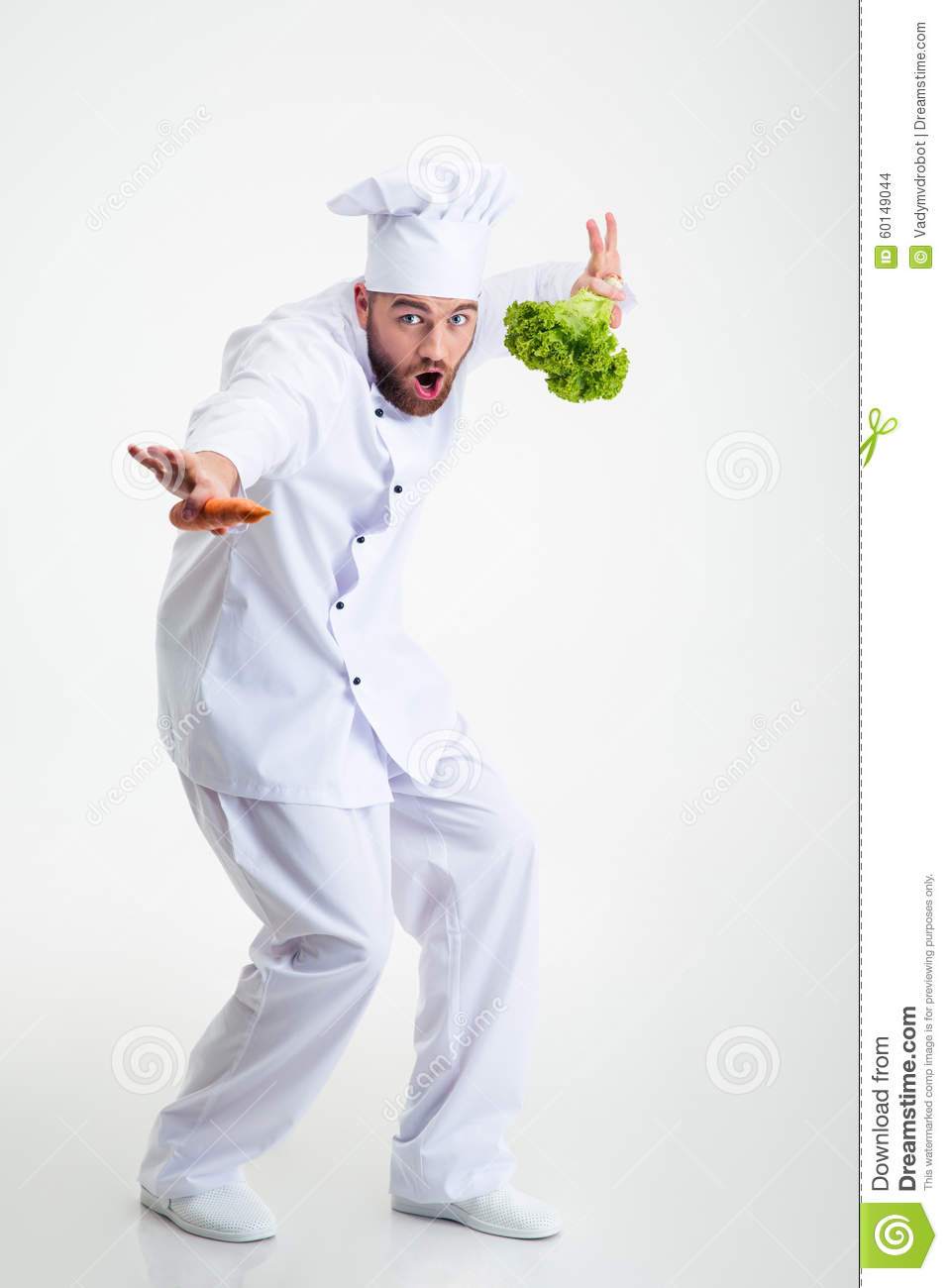 Full Length Portrait Of A Funny Chef Cook Dancing Stock