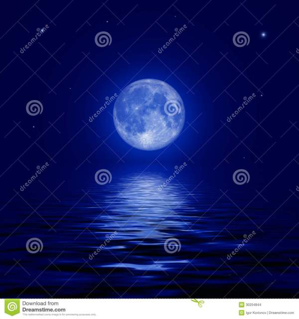 Full Moon And Stars Reflected In The Water Surface Stock