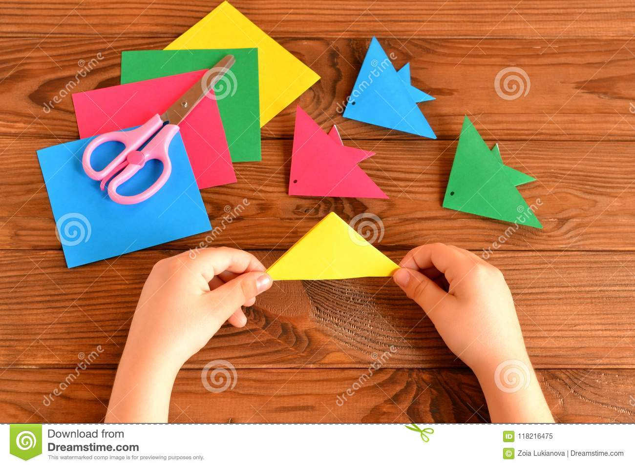 Origami Colorful Fish Paper Sheets Scissors Child Holds