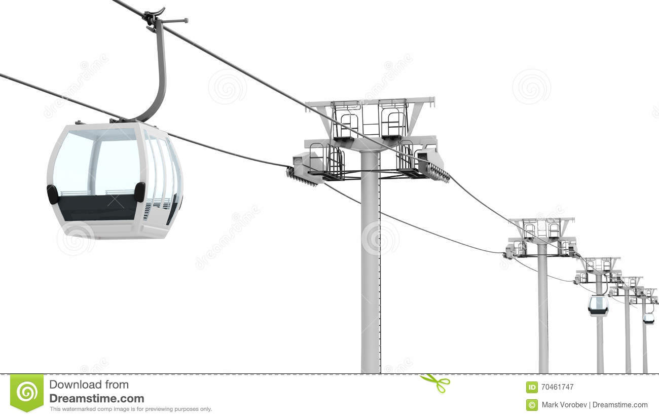 Funicular And Cable Car On White Background 3d Renderi