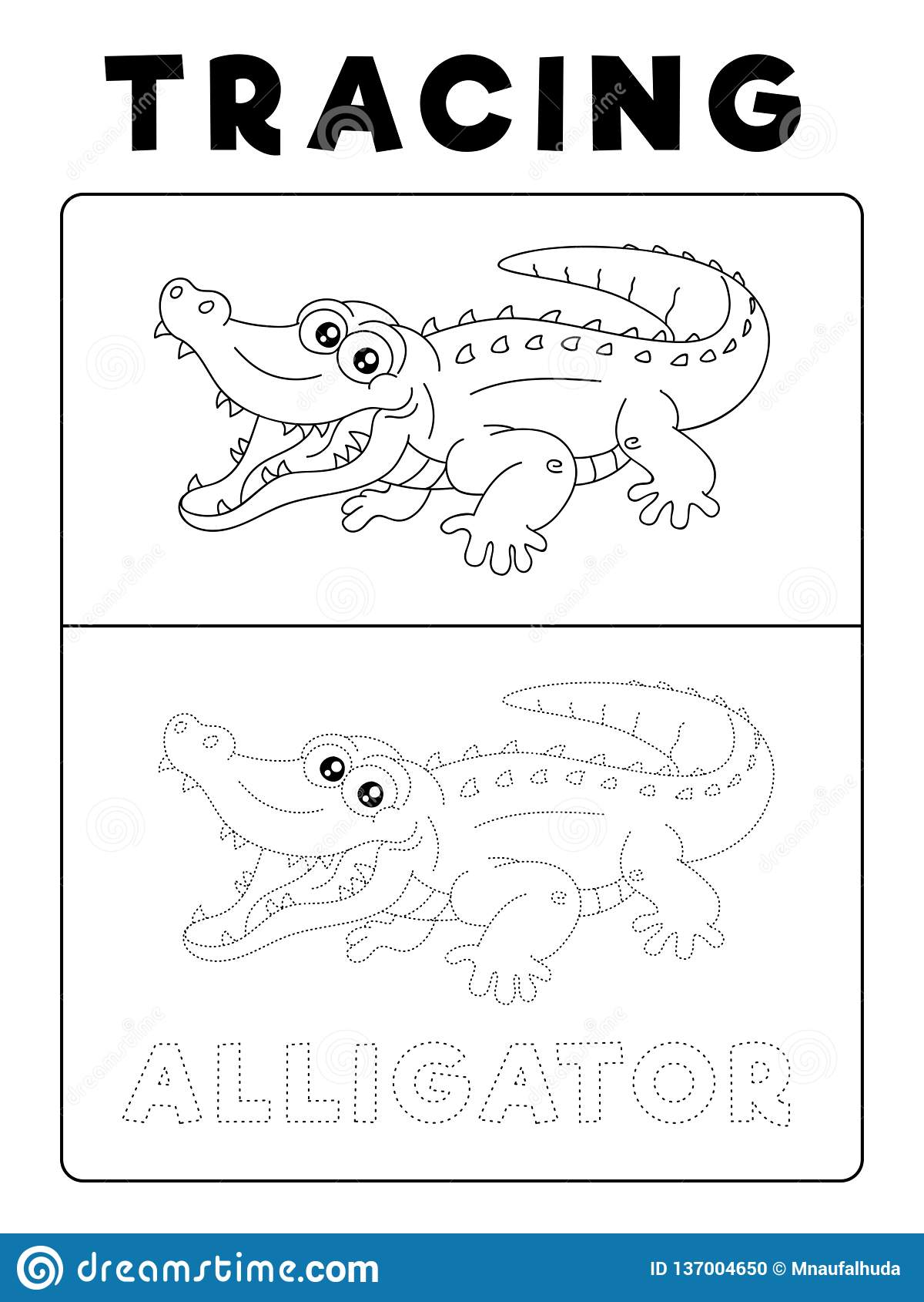 Funny Alligator Crocodile Animal Tracing Book With Example