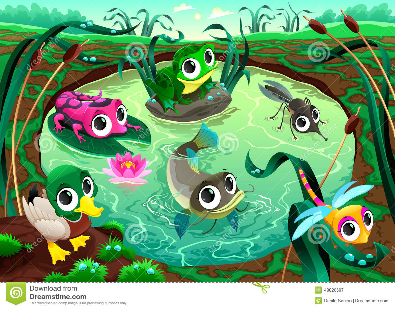 Funny Animals In The Pond Stock Vector Illustration Of