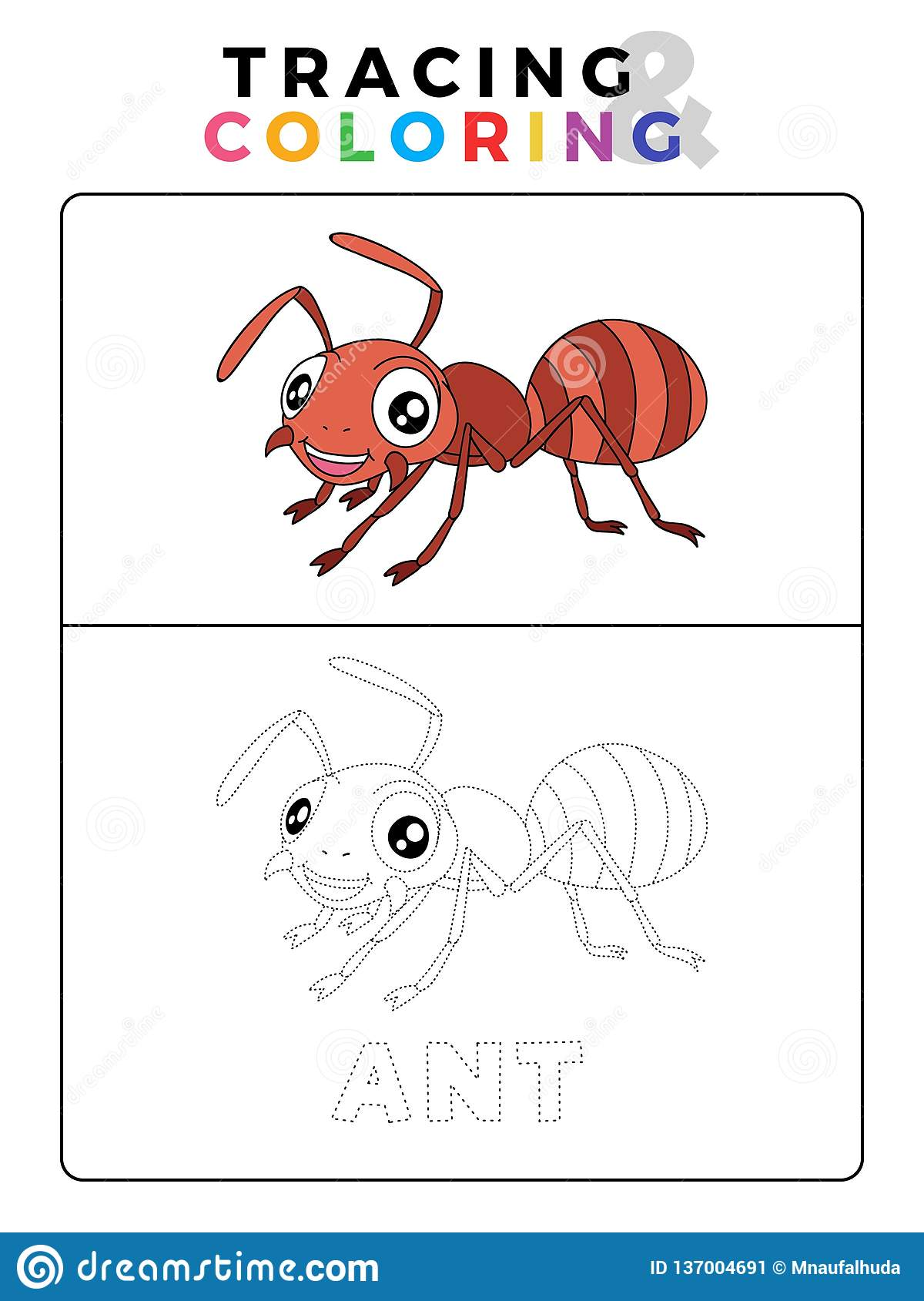 Funny Ant Insect Animal Tracing And Coloring Book With