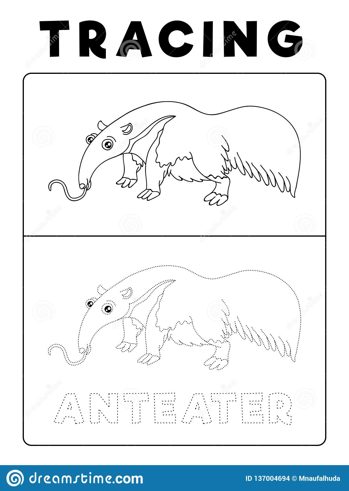 Funny Anteater Animal Tracing Book With Example Preschool