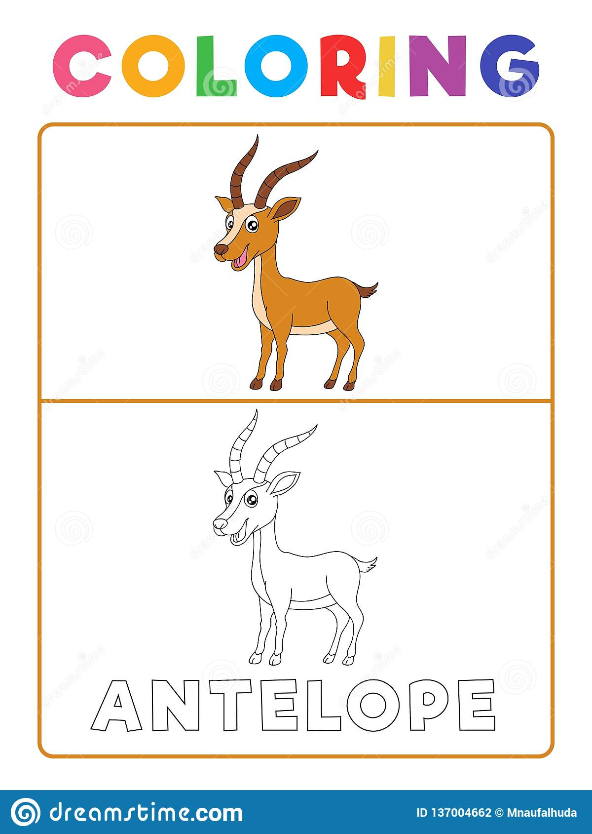 Funny Antelope Deer Animal Coloring Book With Example