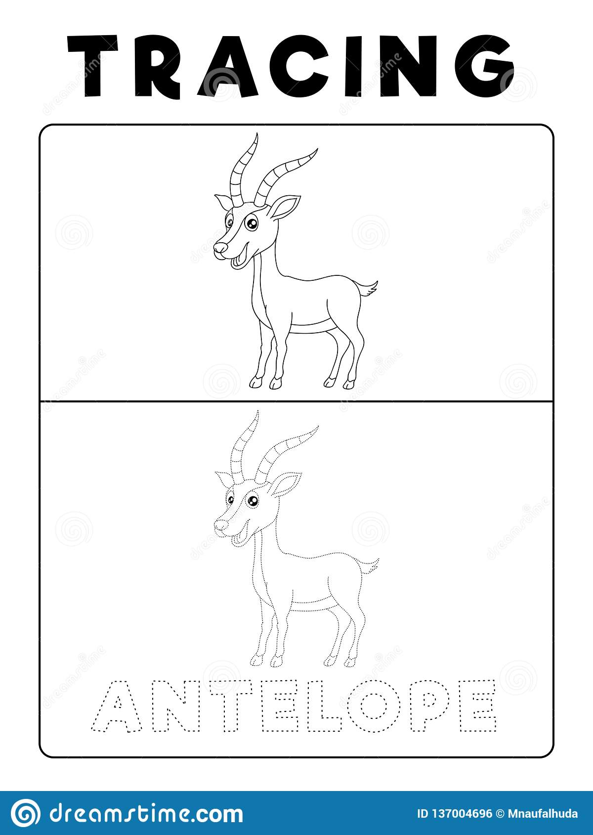 Funny Antelope Deer Animal Tracing Book With Example