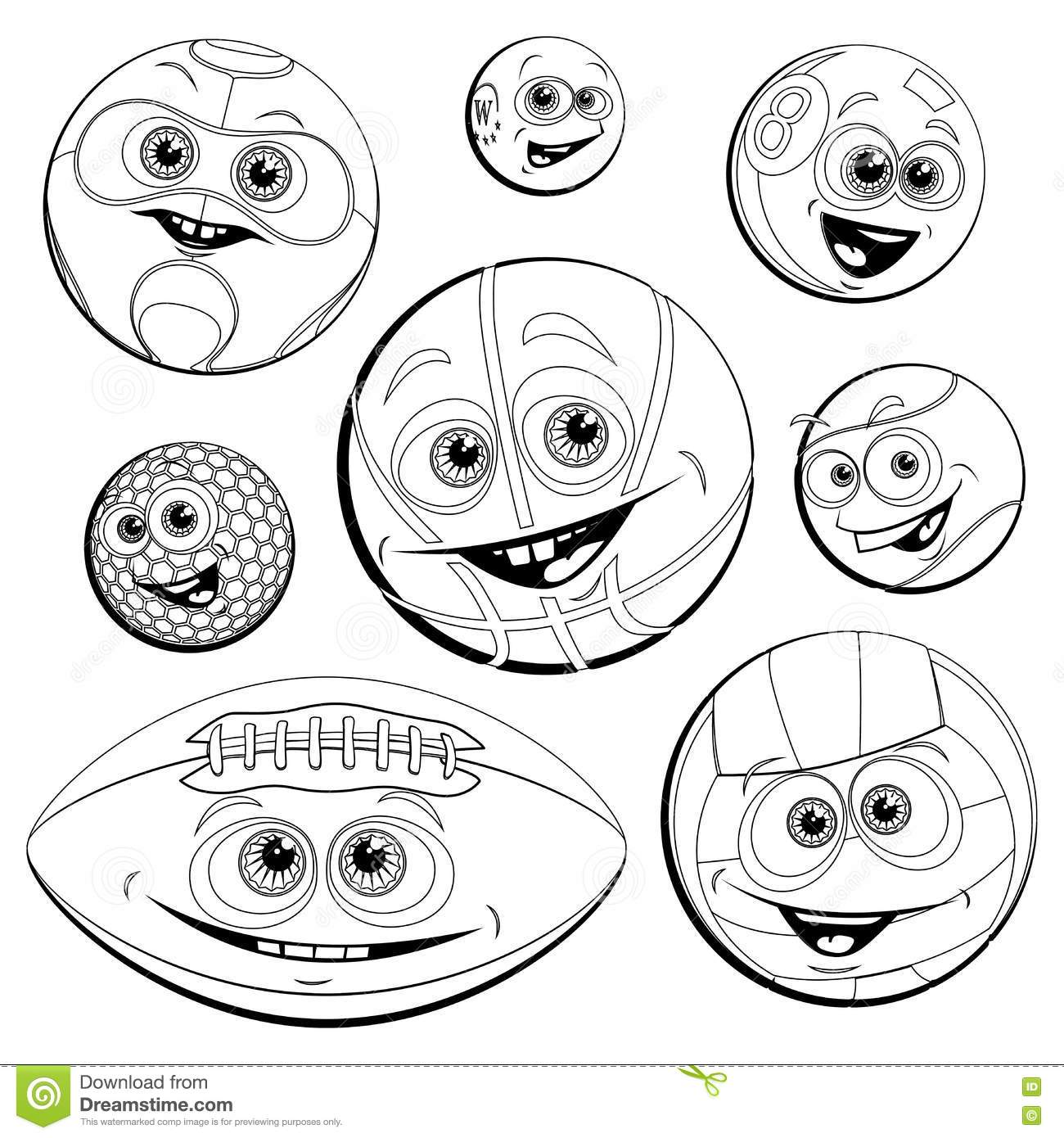 Funny Balls Coloring Royalty Free Stock Images