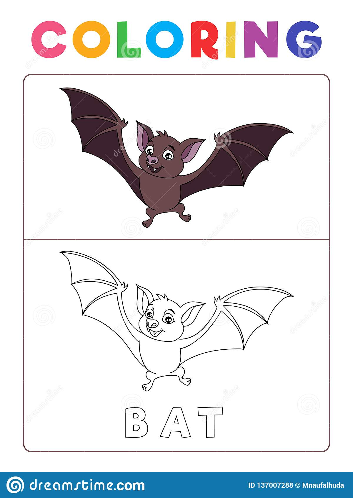 Funny Bat Coloring Book With Example Preschool Worksheet