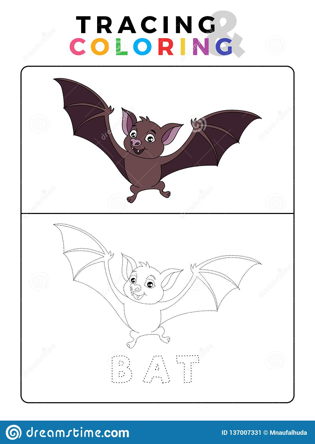 Funny Bat Tracing And Coloring Book With Example
