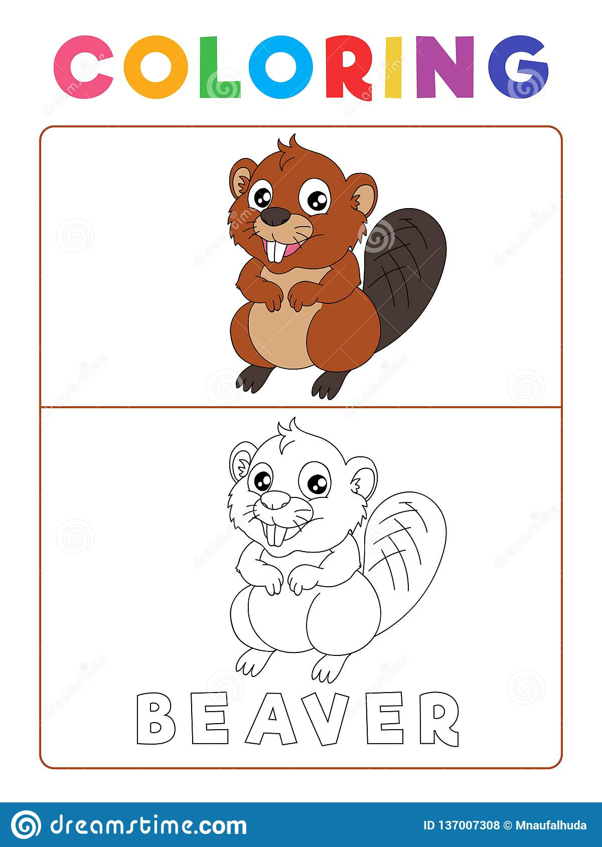 Funny Beaver Coloring Book With Example Preschool