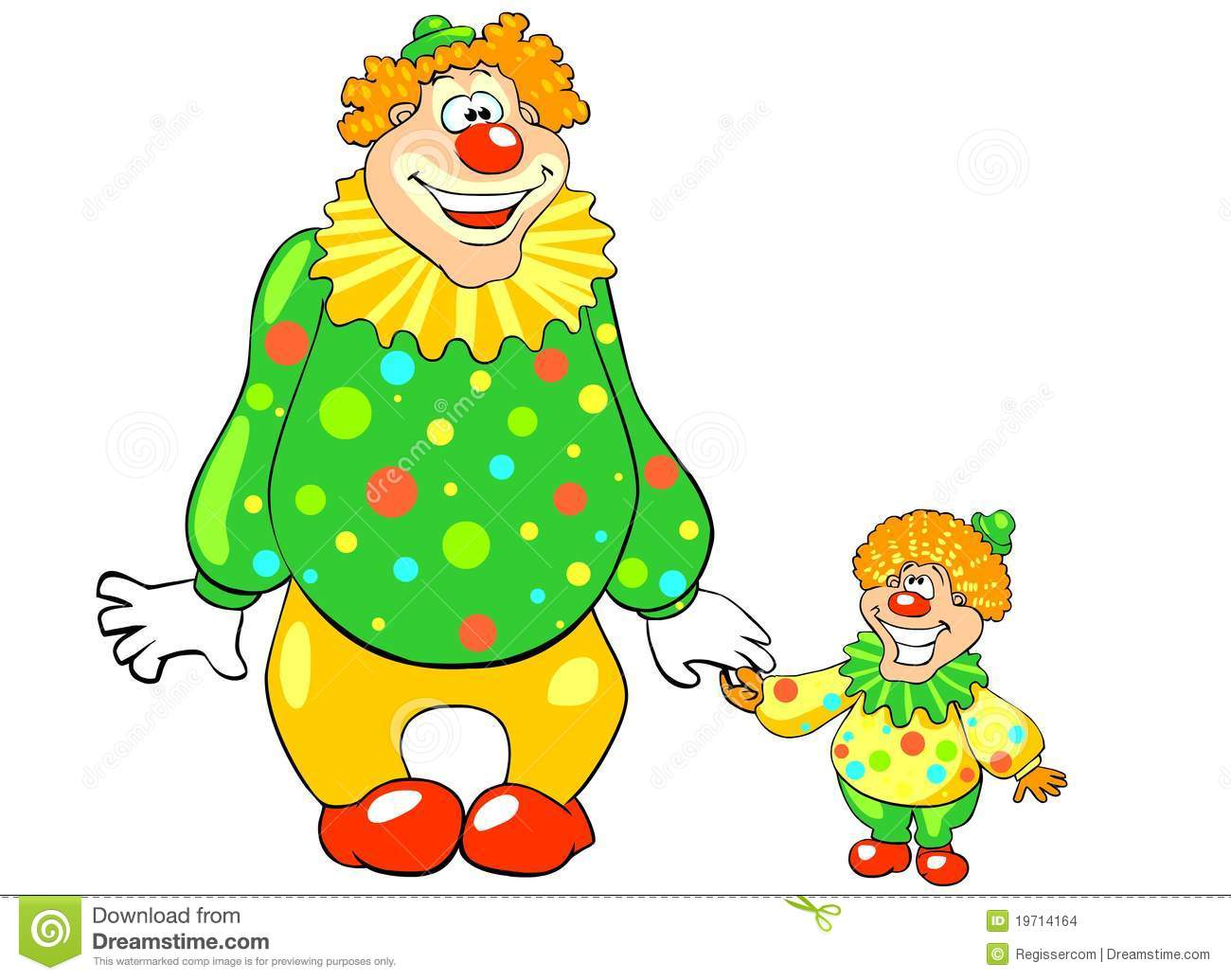 Funny Big And Little Clown Stock Images