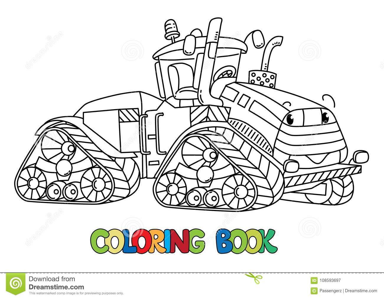 Funny Big Tractor With Eyes Coloring Book Stock Vector