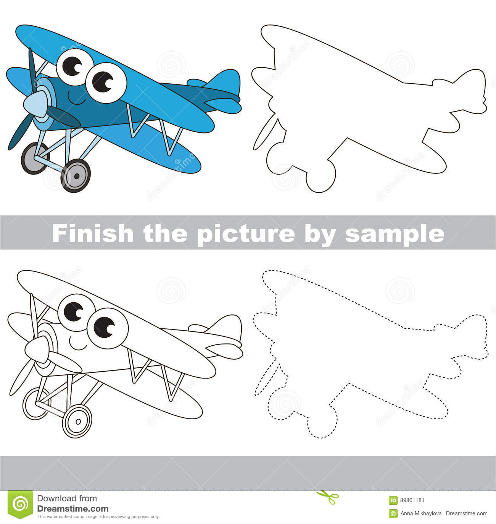 Funny Biplane Drawing Worksheet Stock Vector