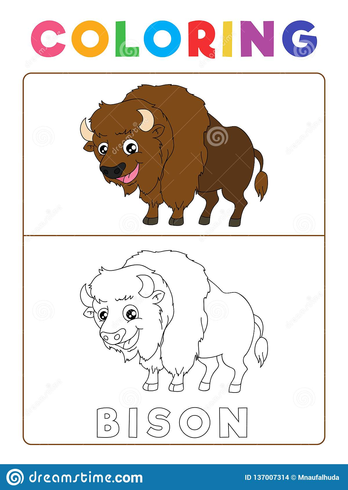 Funny Bison Coloring Book With Example Preschool