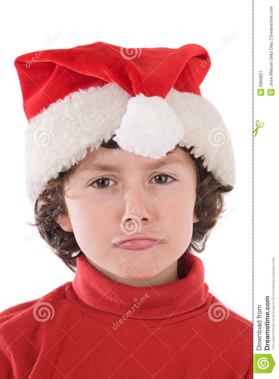 Funny Boy With Red Hat Of Christmas Pulling A Face Stock Image Image 6960651
