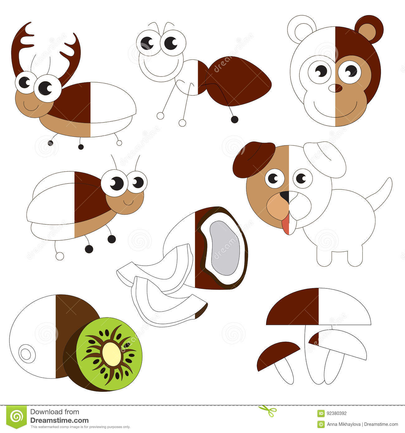 Funny Brown Color Objects The Big Kid Game To Be Colored