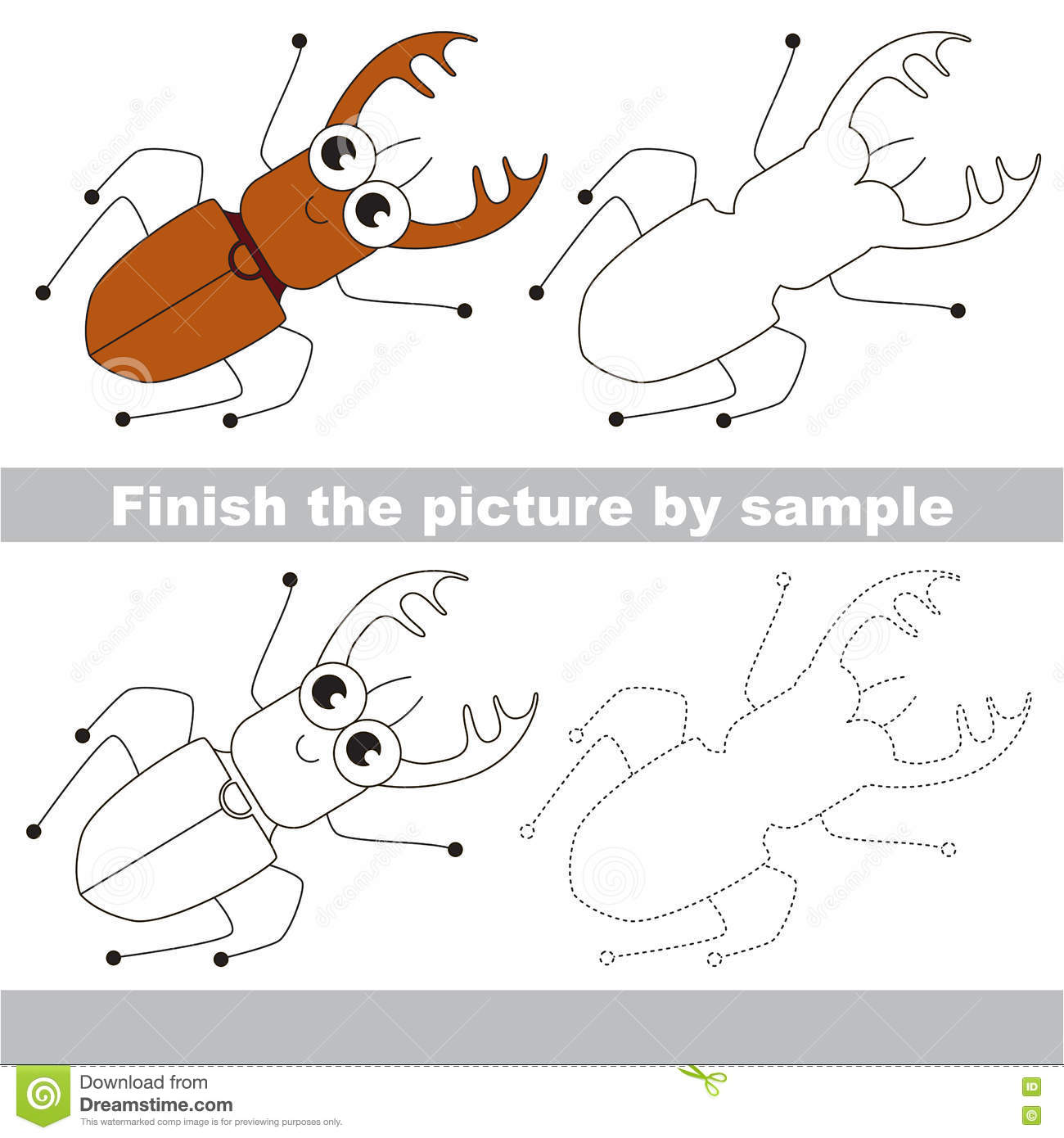 The Funny Bug Drawing Worksheet Stock Vector