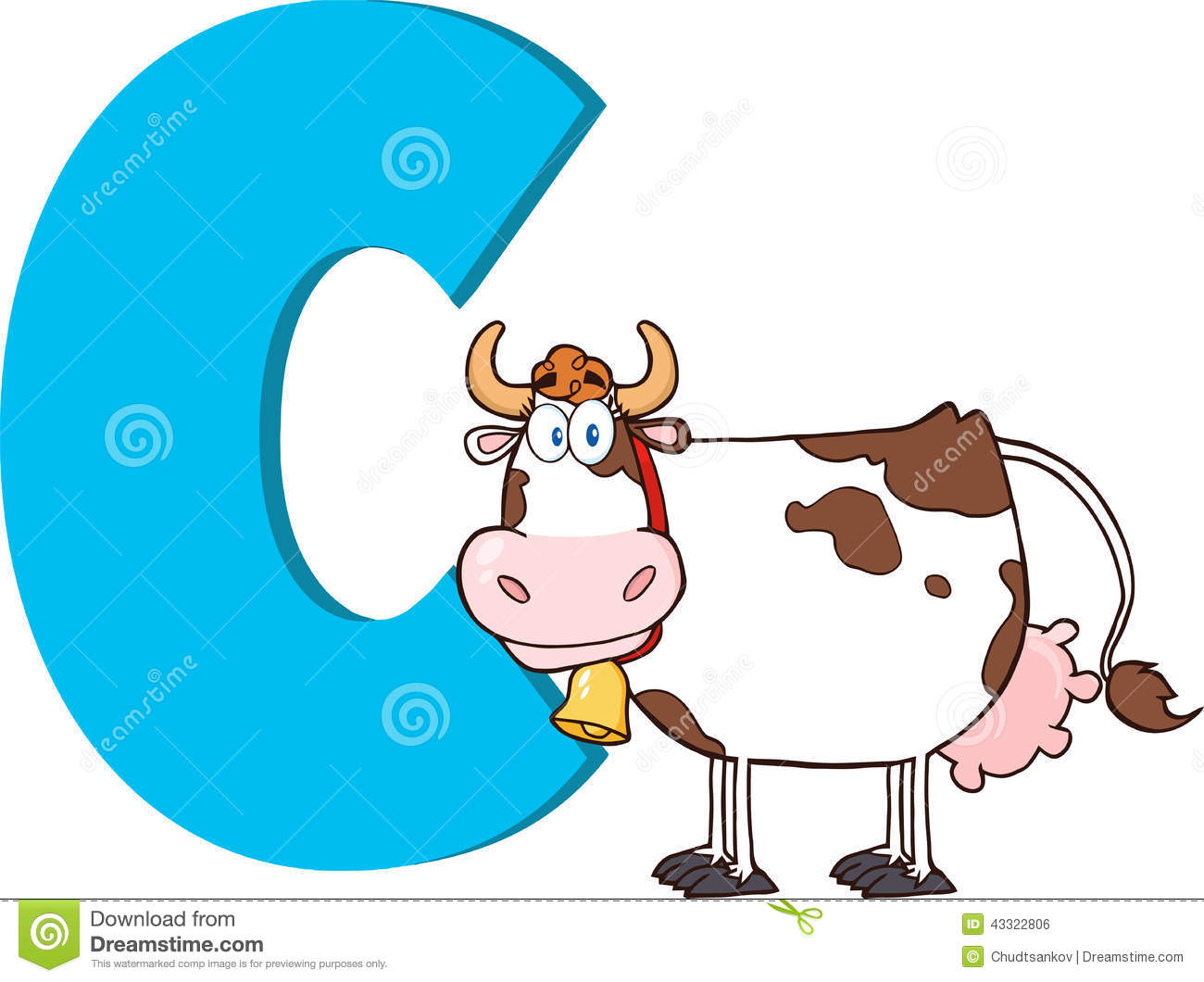 Funny Cartoon Alphabet C With Cow Stock Illustration