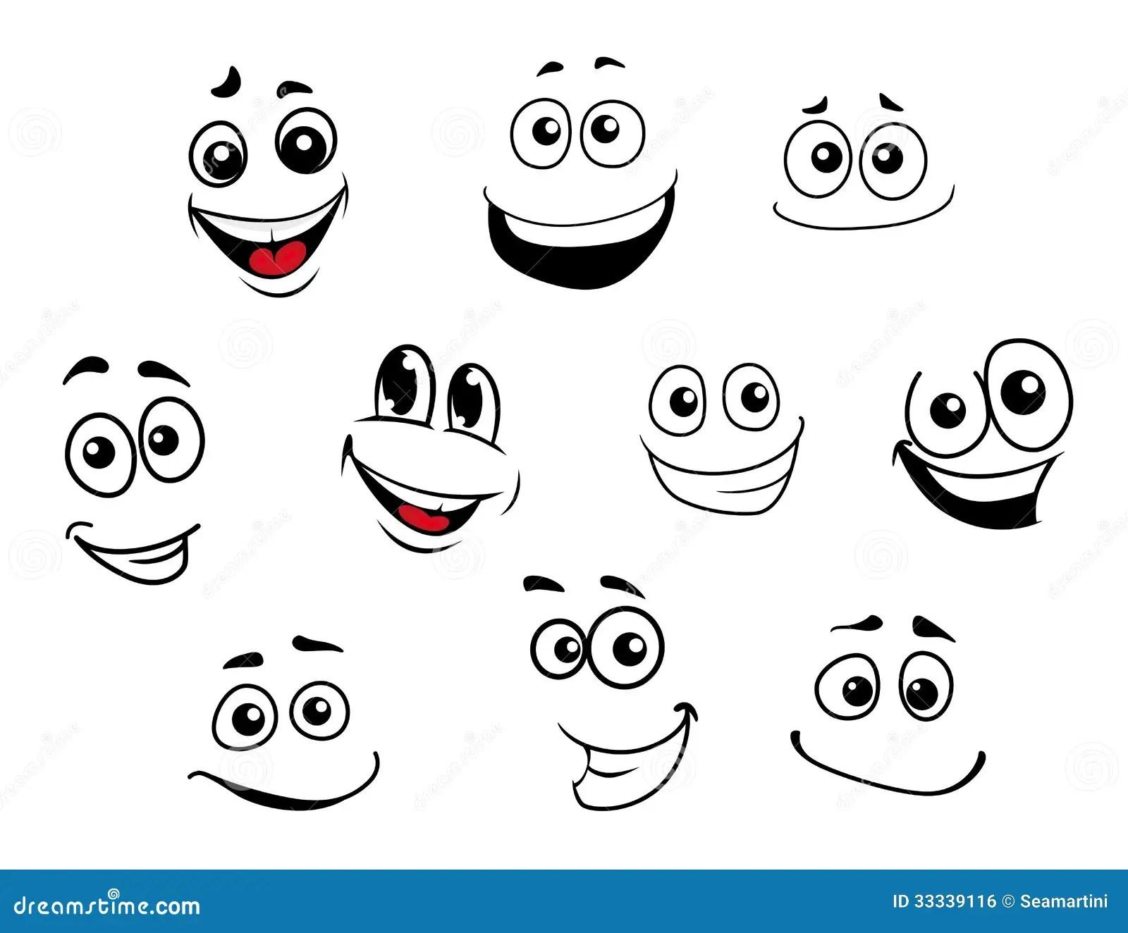 Funny Cartoon Emotional Faces Set Stock Vector